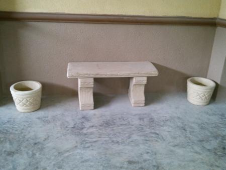 fuente ,mesa, maseteros de cantera